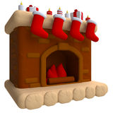 Christmas fireplace in plasticine or clay style. 3d illustration Stock Images