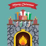 Christmas fireplace with presents in a flat design.  Royalty Free Stock Images