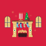 Christmas fireplace red background vector. Merry Christmas fireplace red background vector illustration Stock Photography