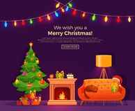 Christmas room interior in colorful cartoon flat style. Royalty Free Stock Photography