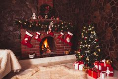 Christmas fireplace in the room Stock Photography