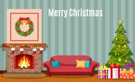 Christmas fireplace room interior. Christmas tree, gifts, decoration, sofa, fireplace. Cozy noel xmas night celebration interior vector illustration in flat Stock Images
