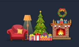 Christmas fireplace room interior. Christmas tree, gifts, decoration, sofa, fireplace. Cozy noel xmas night celebration interior vector illustration in flat Stock Photography