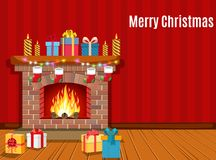 Christmas fireplace room interior. Christmas gifts, vector illustration in flat style Royalty Free Stock Photography