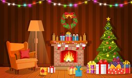 Christmas fireplace room interior. Christmas tree, gifts, decoration, sofa, fireplace. Cozy noel xmas night celebration interior vector illustration in flat Royalty Free Stock Photos