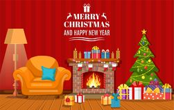 Christmas fireplace room interior. Christmas tree, gifts, decoration, sofa, fireplace. Cozy noel xmas night celebration interior vector illustration in flat Royalty Free Stock Photo