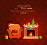 Christmas fireplace room interior. In colorful cartoon flat style. Christmas tree, gifts, decoration, armchair, fireplace, santa heat. Cozy noel xmas night Royalty Free Stock Photos