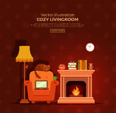Christmas fireplace room interior. Colorful vector cozy fireplace room interior in cartoon flat style. Fireplace, armchair, lamp, cat, laptop, tea. Comfortable Royalty Free Stock Photography