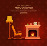 Christmas fireplace room interior. Colorful vector cozy fireplace room interior in cartoon flat style. Fireplace, rocking chair, lamp, books, tea. Comfortable Stock Images