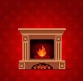 Christmas fireplace room interior. Colorful vector fireplace icon  in cartoon flat style. Comfortable cozy warm fireplace flame bright winter Christmas Stock Images