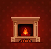 Christmas fireplace room interior. Colorful vector fireplace icon isolated in cartoon flat style. Comfortable cozy warm fireplace flame bright winter Christmas Royalty Free Stock Photos