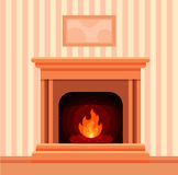 Christmas fireplace room interior. Colorful vector fireplace icon isolated in cartoon flat style. Comfortable cozy warm fireplace flame bright winter Christmas Royalty Free Stock Photo