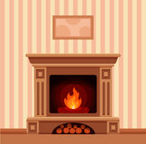 Christmas fireplace room interior. Colorful vector fireplace icon isolated in cartoon flat style. Comfortable cozy warm fireplace flame bright winter Christmas Stock Image