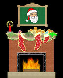 Christmas Fireplace Scene. Illustration on a black background Royalty Free Stock Images