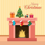 Christmas fireplace. With socks, decorations and christmas tree. Flat style vector illustration Royalty Free Stock Photos