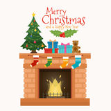 Christmas fireplace with socks, decorations and tree. Christmas fireplace with socks, decorations and christmas tree. Flat style vector illustration Stock Images