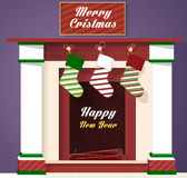 Christmas fireplace and stocking vector illustration. Hanging Christmas socks Stock Photos