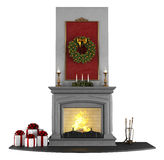 Christmas Fireplace. Traditional fireplace with Christmas decorations isolated on white - rendering Royalty Free Stock Images