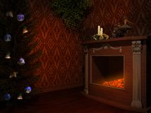 Christmas fireplace. Fireplace with christmas tree and candles Stock Image