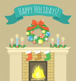 Christmas fireplace. Vector cartoon holiday illustration of Christmas fireplace with candles, burning fire, socks for gifts, Christmas wreath and ribbon with Royalty Free Stock Images