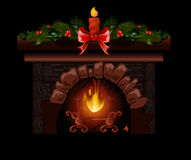 Christmas fireplace vector illustration with fir tree decoration. Christmas fireplace vector illustration with fir tree candle decoration Royalty Free Stock Photo