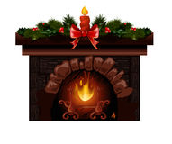 Christmas fireplace vector illustration with fir tree decoration. Christmas fireplace vector illustration with fir tree candle decoration Royalty Free Stock Images