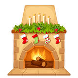 Christmas fireplace. Vector illustration. Stock Image