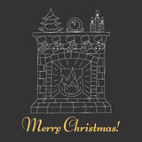 Christmas fireplace, vector Royalty Free Stock Images