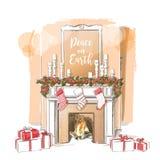 Christmas fireplace vector Royalty Free Stock Photos
