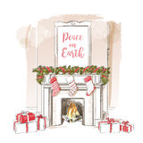 Christmas fireplace vector Stock Photos