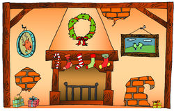 Christmas fireplace. Vintage hand drawn illustration Stock Image