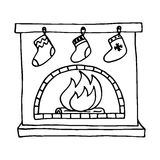 Christmas fireplace on white background. Vector illustration Stock Image
