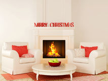 Christmas fireplace and a white chair. Christmas interior in red and white color with fireplace in the center of the composition, comfortable chairs and a nice Stock Images