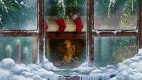 Christmas Fireplace Through a Window with Snowfall 4K Loop
