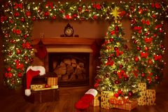 Christmas Fireplace and Xmas Tree, Presents Gifts Decorations. New Year Home Interior Background