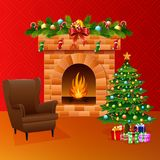 Christmas fireplace with xmas tree, presents, and sofa Royalty Free Stock Photos