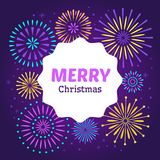 Christmas firework poster. Merry xmas holiday 2019 celebration fireworks. Vector background royalty free illustration