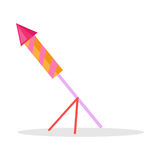 Christmas Firework Rocket Isolated Icon on Stand Royalty Free Stock Photography