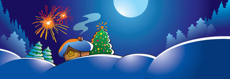 Christmas fireworks. Winter landscape with small snowy house, holidays firework, decorated fir tree, vector illustration Royalty Free Stock Images