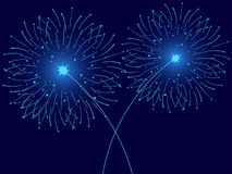 Christmas fireworks blue isolated. Greeting card with particle. Vector. Illustration Stock Photos