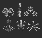 Christmas fireworks on dark background Royalty Free Stock Photos