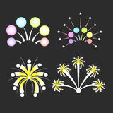 Christmas fireworks on dark background Royalty Free Stock Images