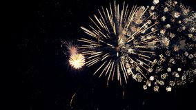 Christmas fireworks display. Close-up. Fireworks display. Colourfull fireworks 4K
