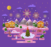 Christmas fireworks. Flat design vector nature winter landscape illustration with sky full of firework lights, cartoon fairytale village, Christmas tree on ice Royalty Free Stock Image