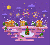 Christmas fireworks. Flat design vector nature winter landscape illustration with sky full of firework lights, cartoon fairytale houses, Christmas tree on ice Royalty Free Stock Photography