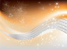 Christmas with fireworks. On gold background Royalty Free Stock Photos