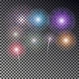 Christmas fireworks light effect isolated on dark background. Realistic firework decoration for New. Year, Party, Birthday. Firecracker vector illustration Stock Photo