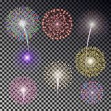 Christmas fireworks light effect isolated on dark background. Realistic firework decoration for New. Year, Party, Birthday. Firecracker vector illustration Stock Image