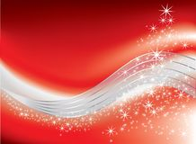 Christmas with fireworks. On red background Royalty Free Stock Photo