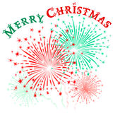 Christmas fireworks. Vector colorful fireworks in honor of Christmas on white background Stock Photo